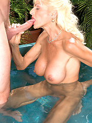 White aged woman outdoor sucking