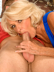 Blonde mature slut gets facial cumshot