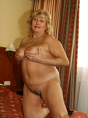 Big Titty old lady milks cocks dry with her juggs!