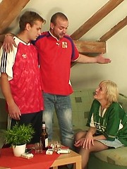 The blonde grandma in stockings takes on two men to taste their sticky hot jizz