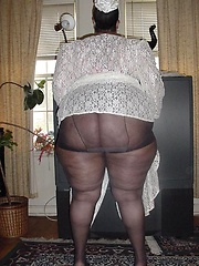 Very big black mama shows her fat ass