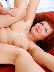 Sex-crazed mature makes a shocked boy mouth and bone her dripping snatch