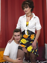Young boy loves mature woman