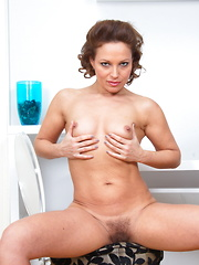 hairy mom playing with herself