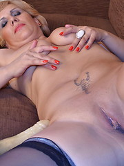 Naughty housewife masturbating and playing