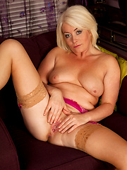 Hottest blonde mature touching her wet hole