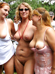 Public nudity competition with an older women