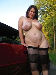 Mature carwives flashing naked outdoors